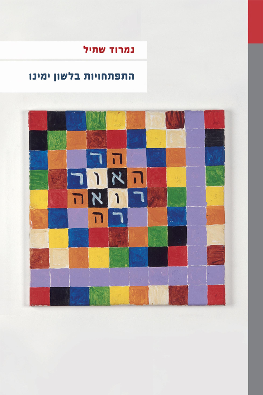 """כריכה לבנה עם ריבוע משובץ בצבעים של ספר """"התפתחויות בלשון ימינו"""" מאת נמרוד שתיל"""